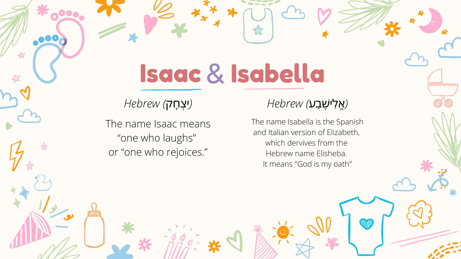 Signification des noms Isaac et Isabella