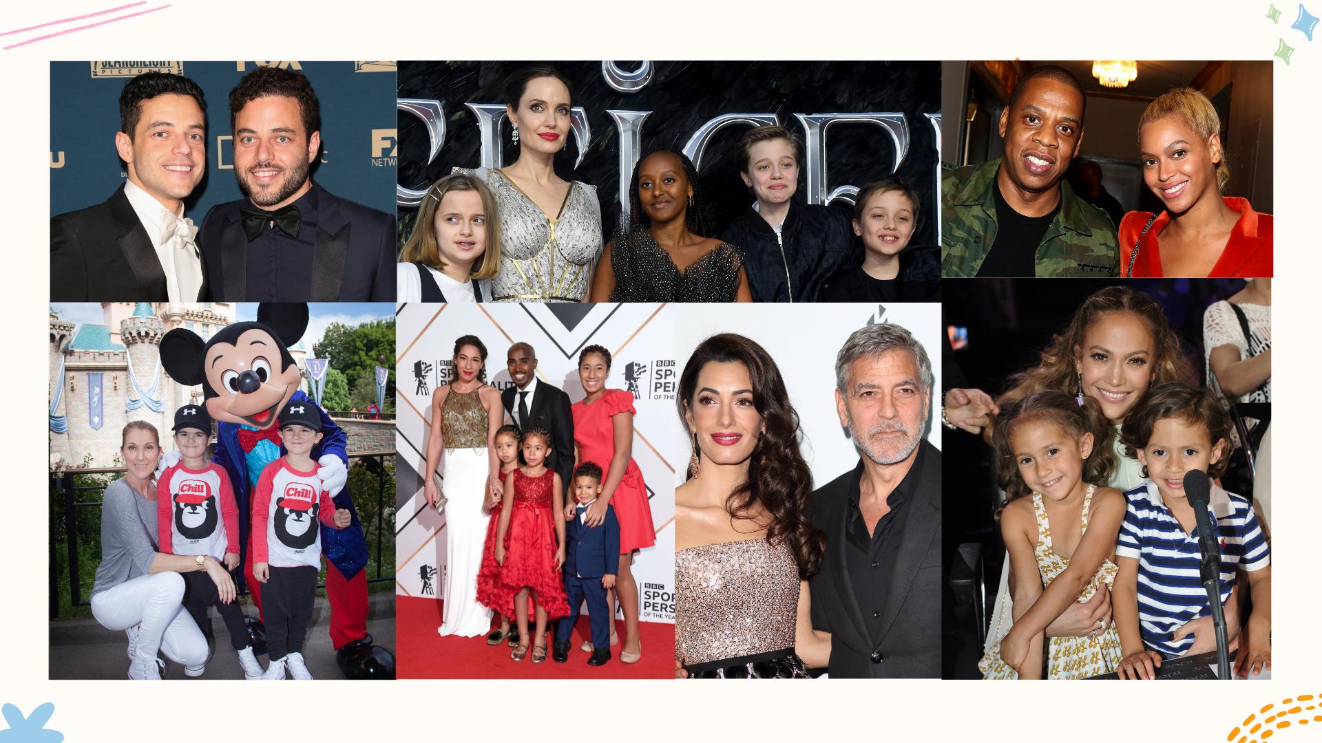 un collage de célébrités et leurs noms de jumeaux