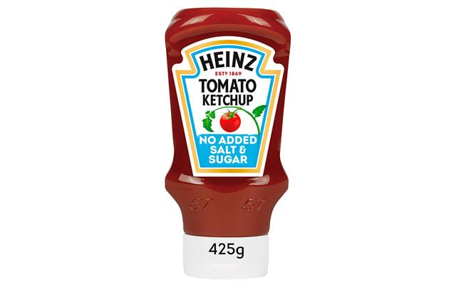 Ketchup Heinz 50% sans sucre ajouté ni sel.