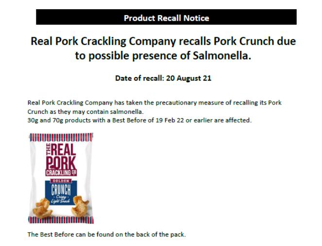 Rappel de grattage de porc