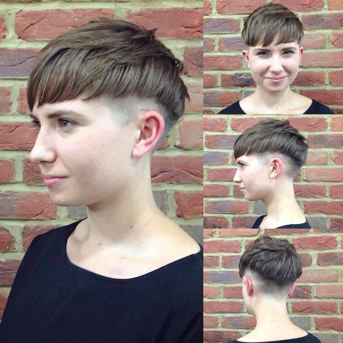 Coupe de cheveux champignon à la mode pour les brunes