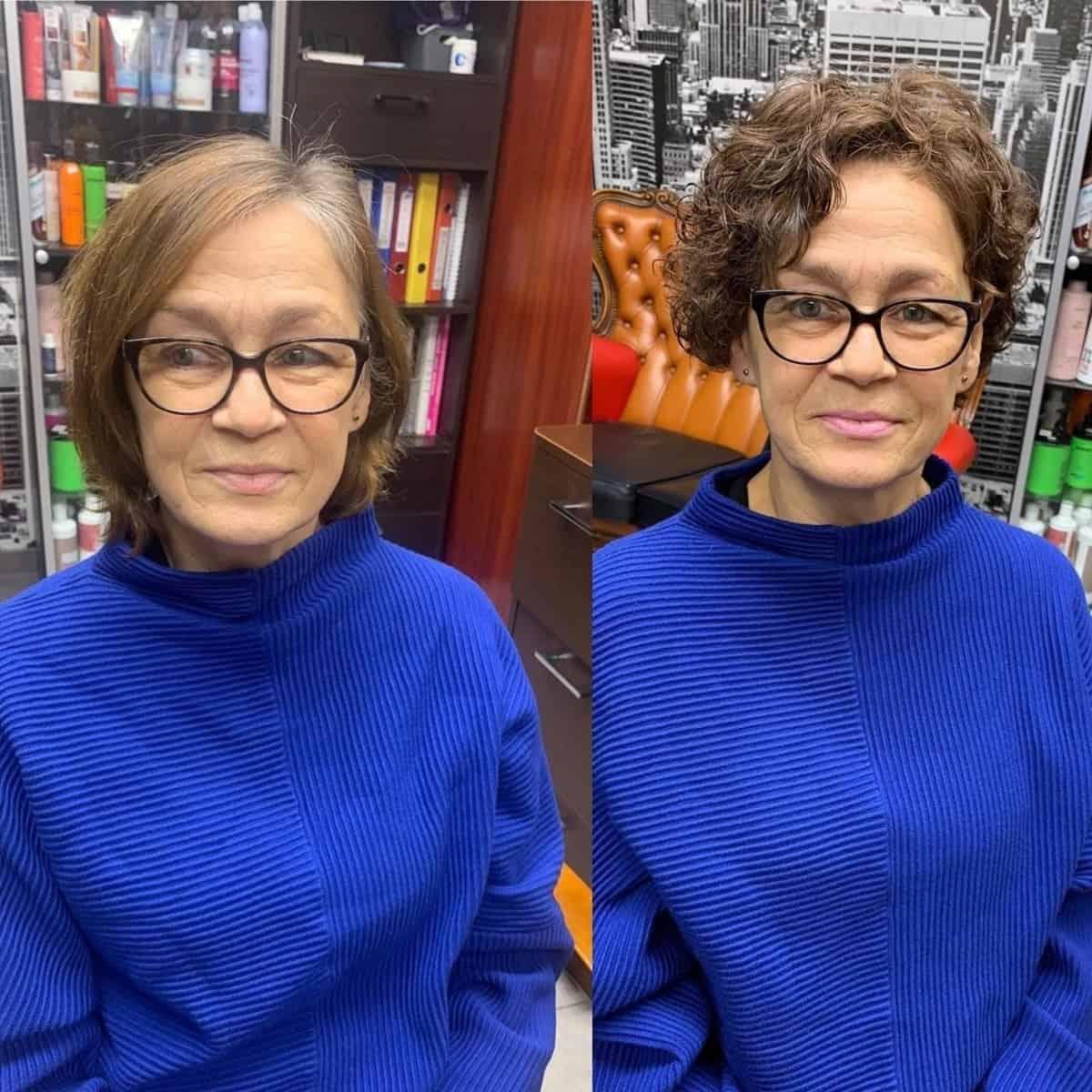 Pixie ondulé pour les femmes de plus de 60 ans