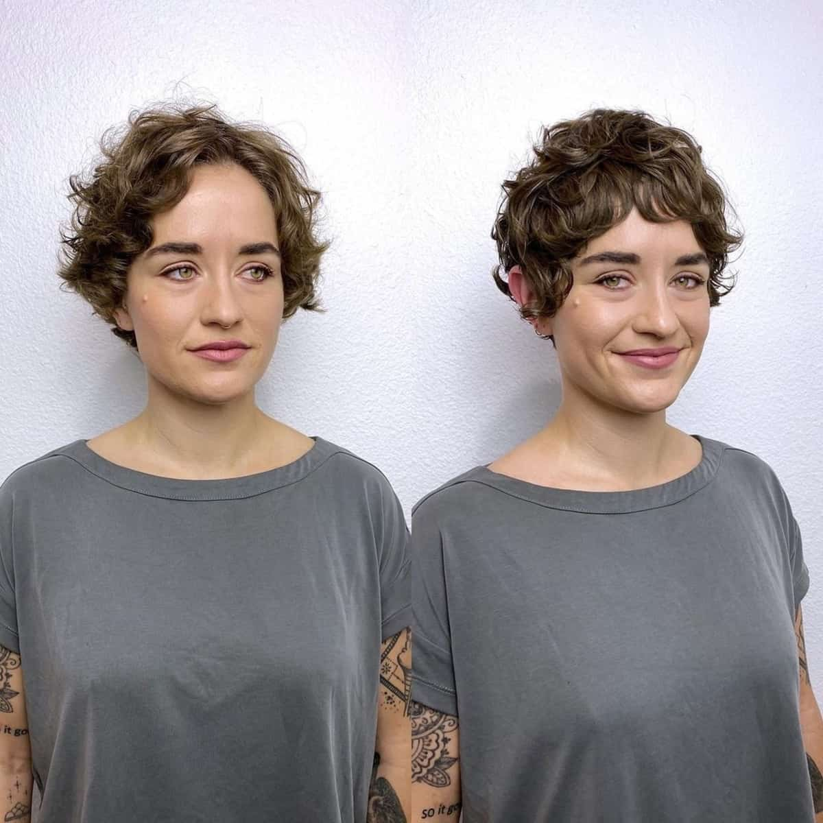 Coupe Pixie pour les cheveux ondulés et épais