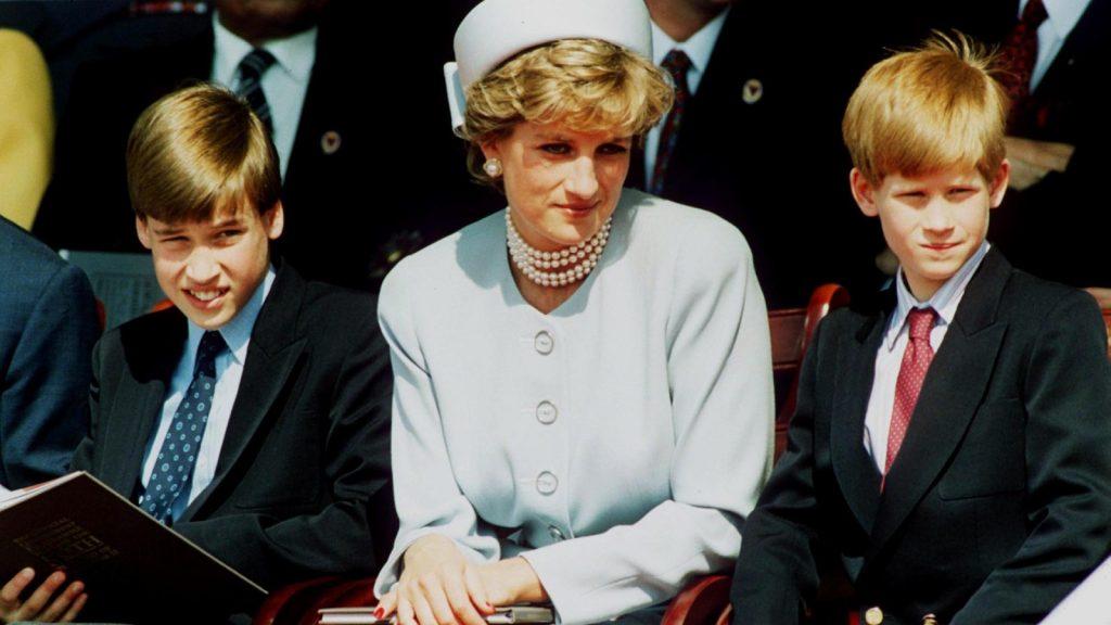 La princesse Diana, princesse de Galles, et ses fils, le prince William et le prince Harry, assistent au service commémoratif des chefs d'État à Hyde Park, le 7 mai 1995, à Londres, en Angleterre.