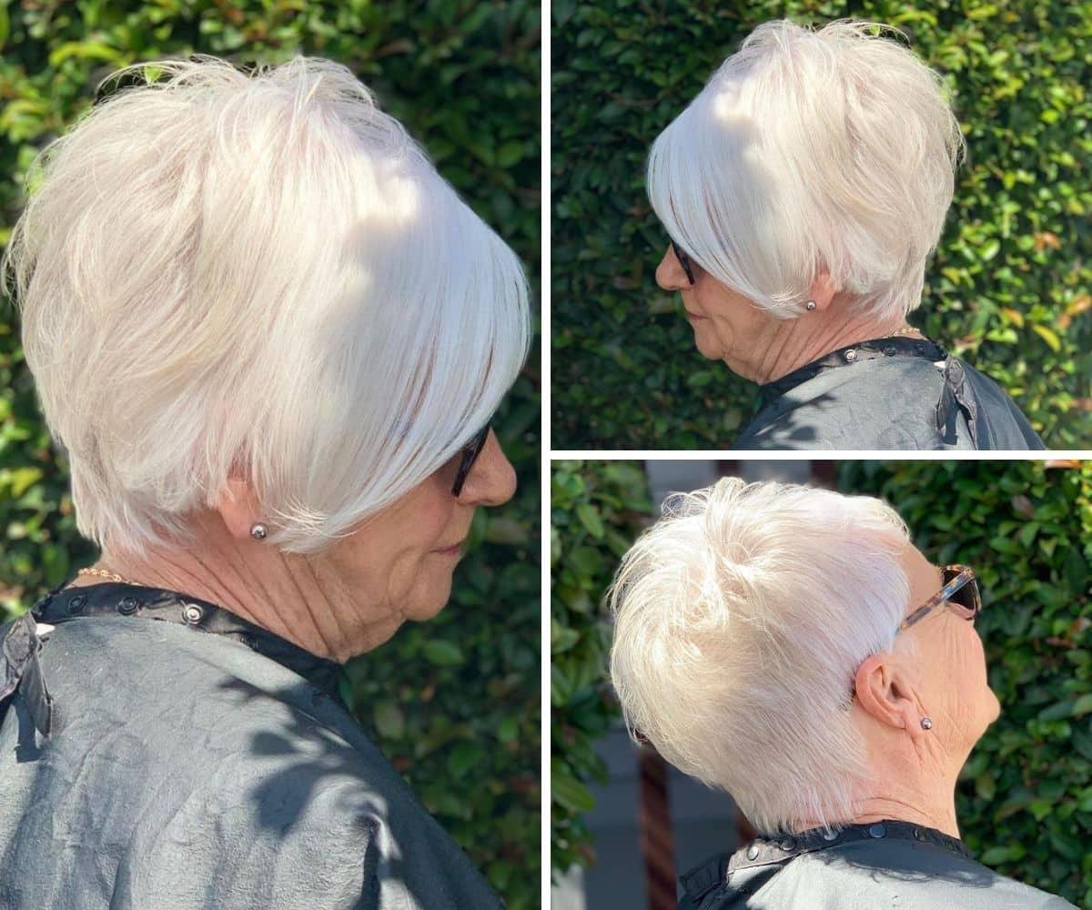Style asymétrique classique pour les femmes de plus de 60 ans aux cheveux blancs