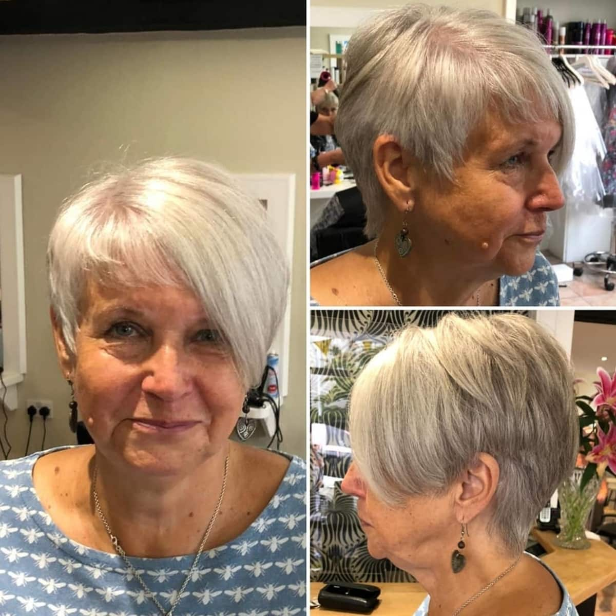Coupe de cheveux asymétrique et dégradée pour les femmes de 60 ans aux cheveux fins