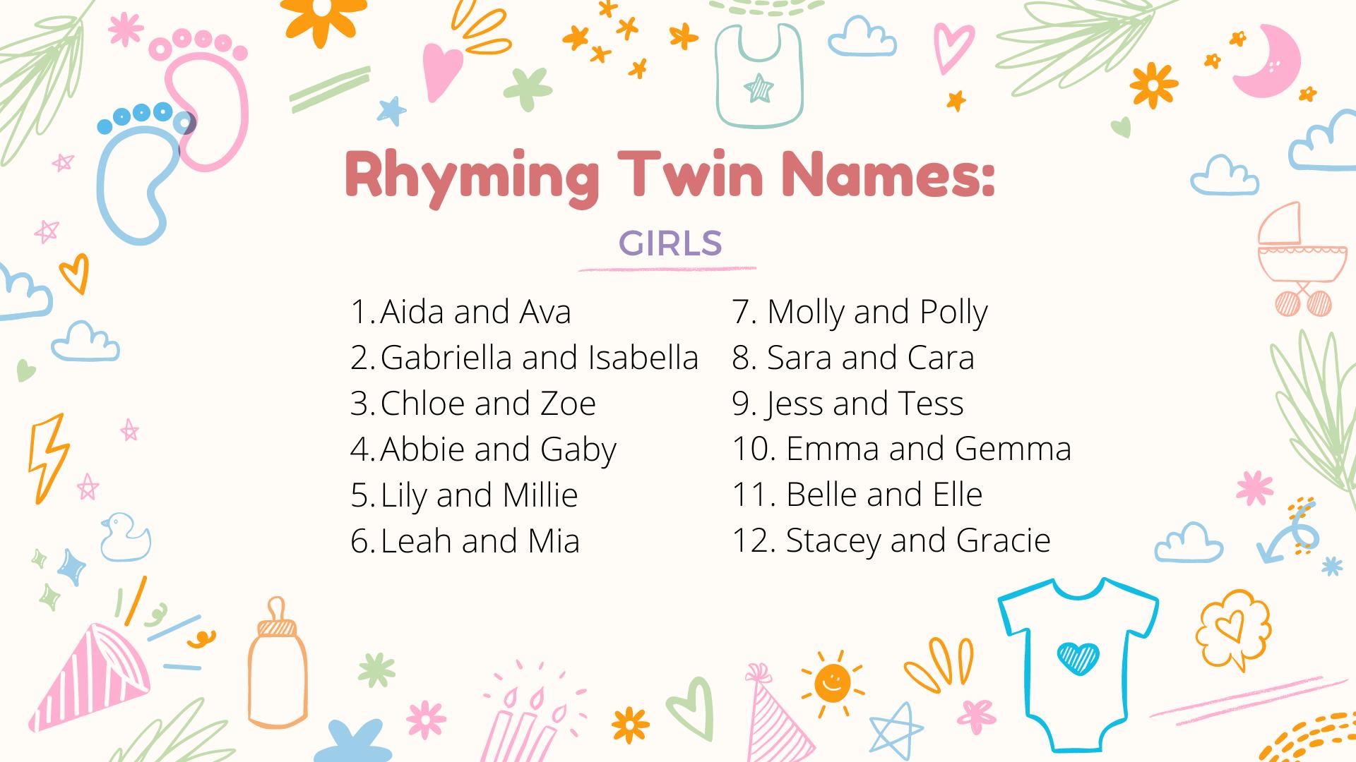 nom de jumelles rimant avec fille