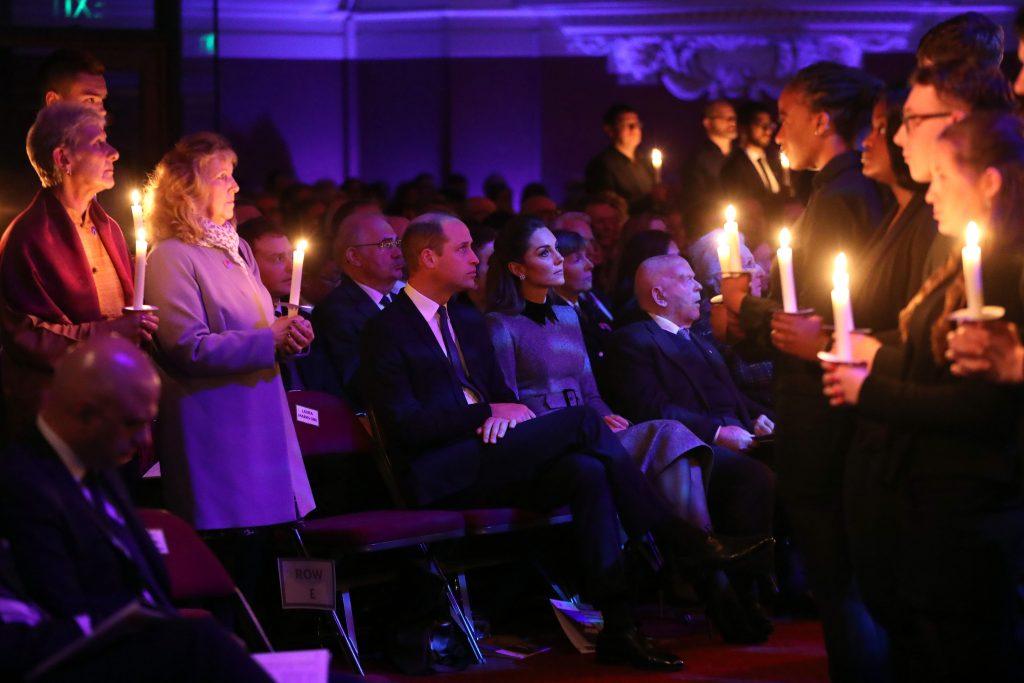 Le prince William, duc de Cambridge, et Catherine, duchesse de Cambridge, assistent à la cérémonie de commémoration de la journée de commémoration de l'Holocauste au Royaume-Uni, à Westminster, le 27 janvier 2020.