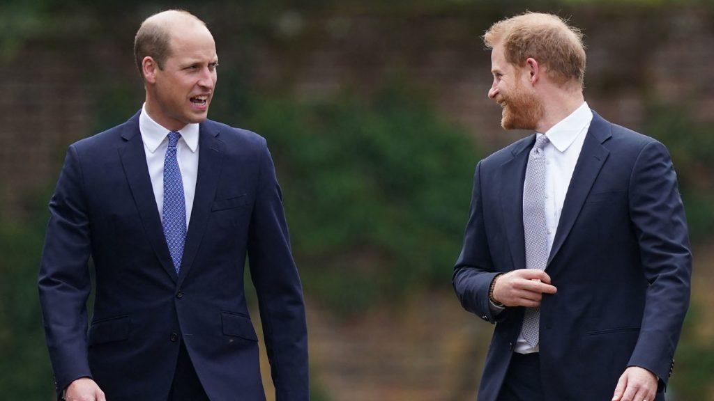 Le prince William, duc de Cambridge, (à gauche) et le prince Harry, duc de Sussex, arrivent pour l'inauguration d'une statue de leur mère, la princesse Diana, au Sunken Garden de Kensington Palace, à Londres, le 1er juillet 2021.