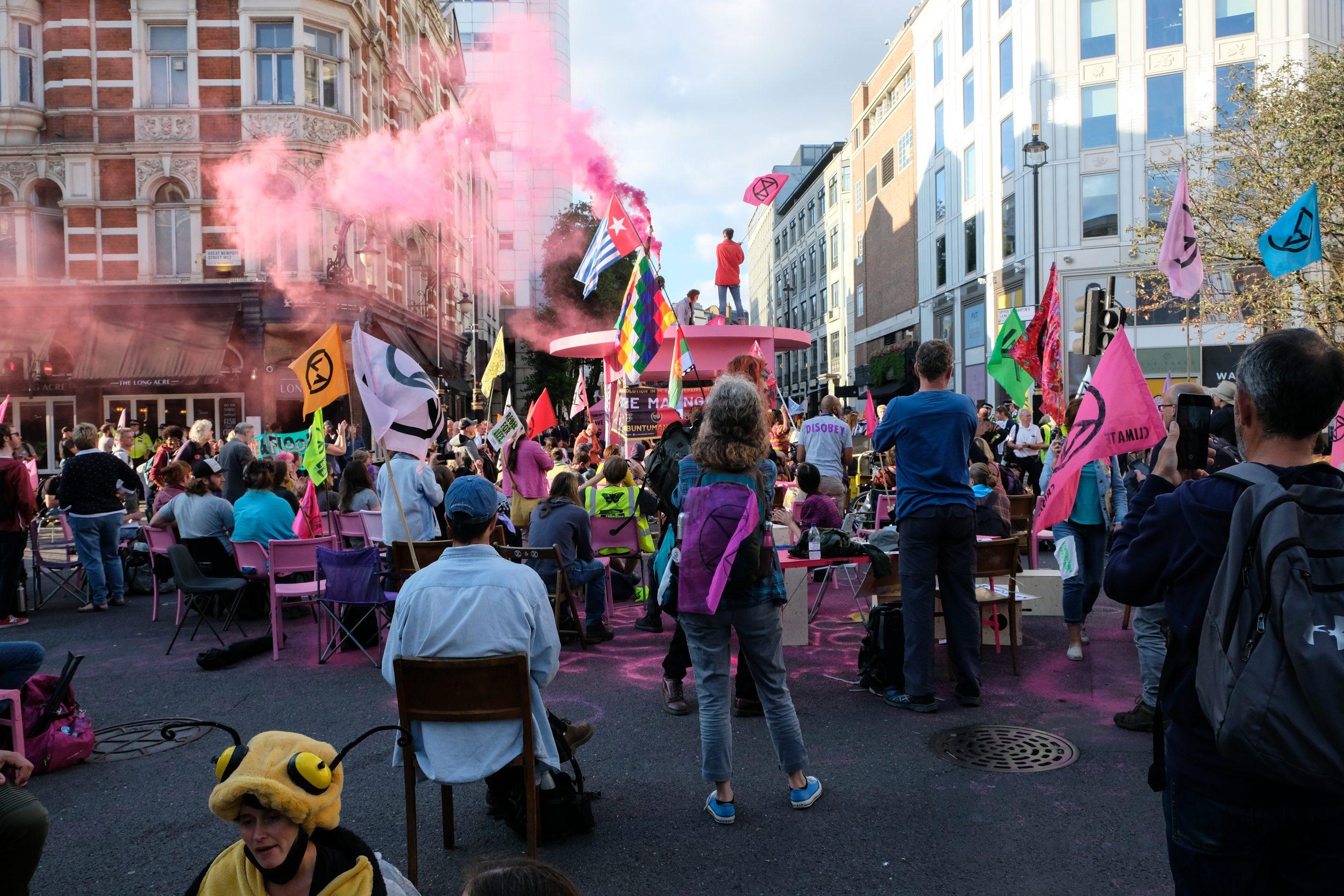 Extinction Rebellion, qui est un groupe de protestation, à Covent Garden le 24 août.
