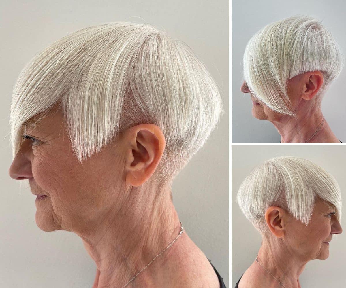 Coupe Pixie Edgy pour les femmes plus âgées aux cheveux fins