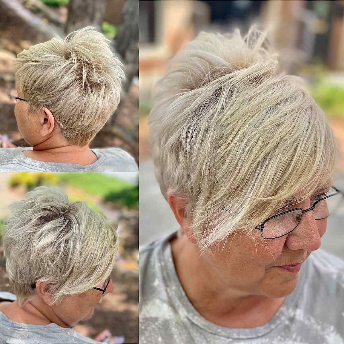 Femme âgée avec une pixie sous-coupée avec une frange.