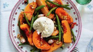 recette de la salade de burrata, de courge et de haricots verts