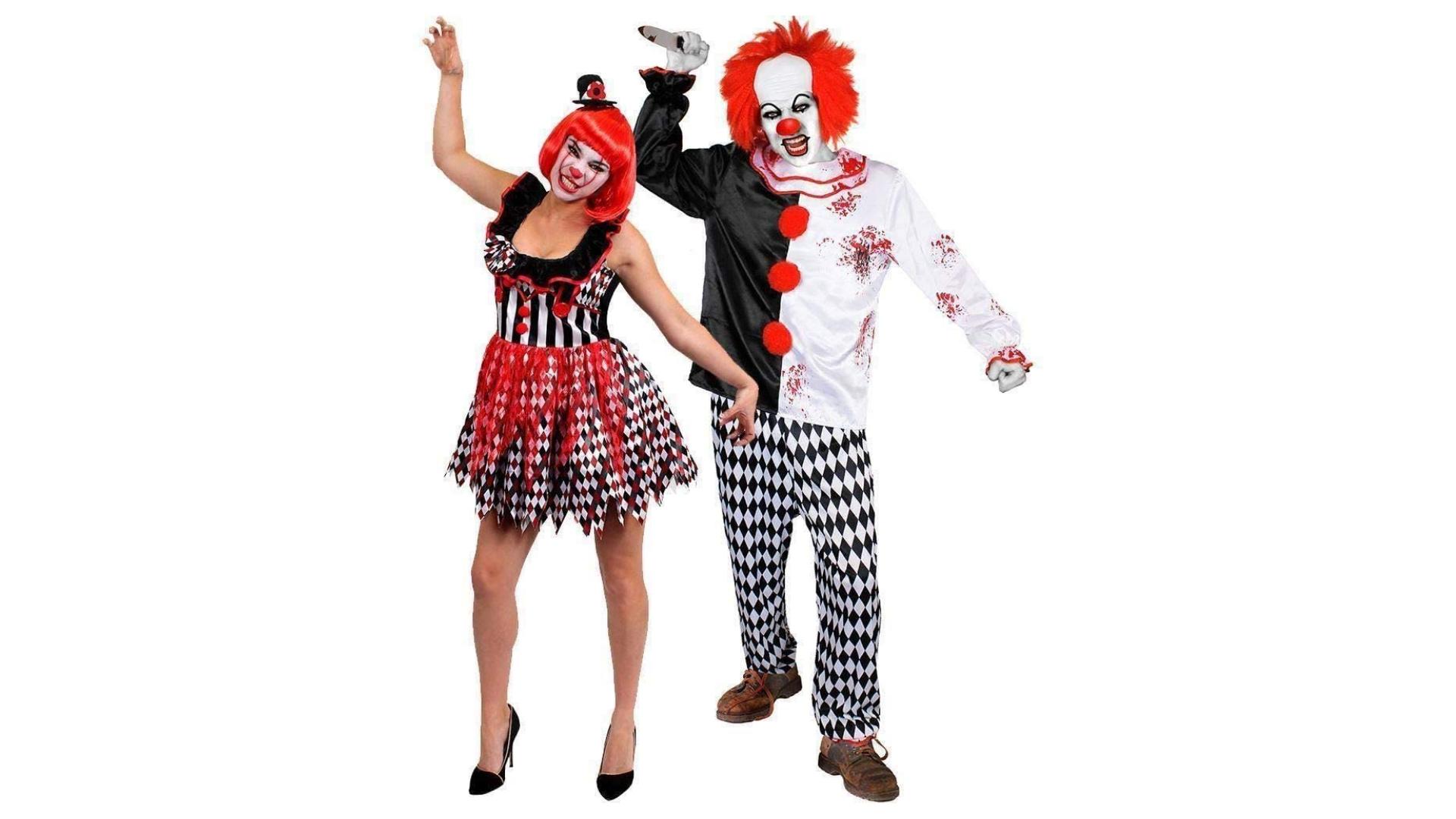 Costumes de couple de clowns tueurs pour Halloween