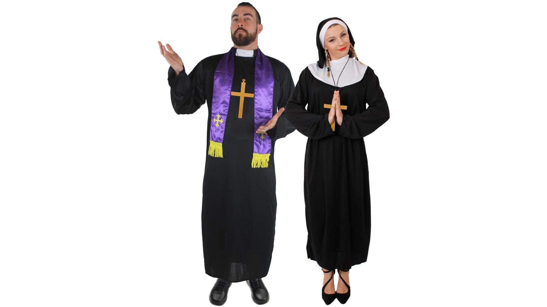 Costumes de couple de prêtre et de nonne pour Halloween