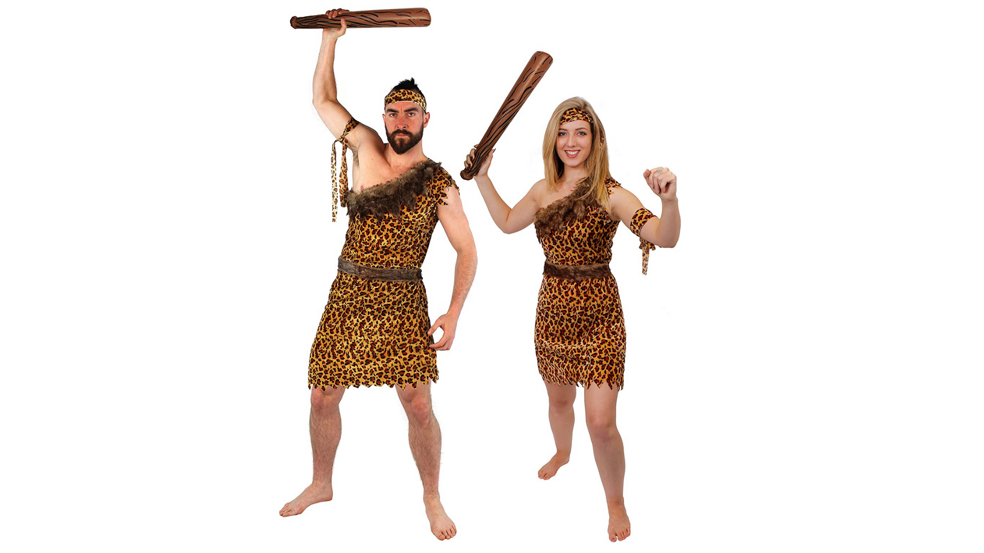 Costumes de couple d'Halloween pour homme et femme des cavernes