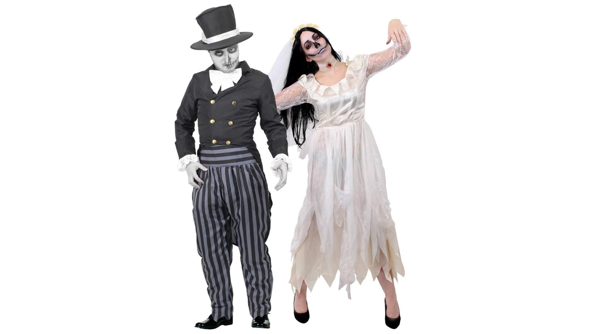 Costumes de couple pour Halloween : mariée et marié zombie