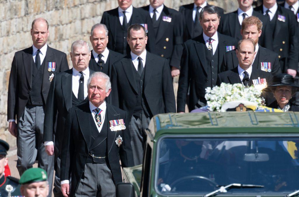 Le Prince Harry, le Prince William et Charles aux funérailles du Prince Philip
